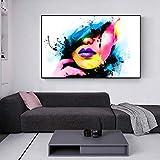 Wieoc Abstrakt Wandposter Und Kunstdrucke Sexy Girl Lips Pop Art Leinwandbilder Moderne Leinwandbilder Wandbilder Für Wohnzimmer 60X80Cm