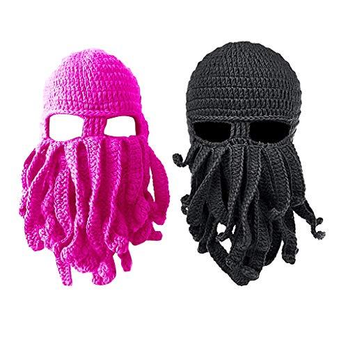 Hellery 2X Herren Barbarian Vagabond Beanie Strickbart Octopus Pirate Hats Bearded - Herren Bearded Kostüm