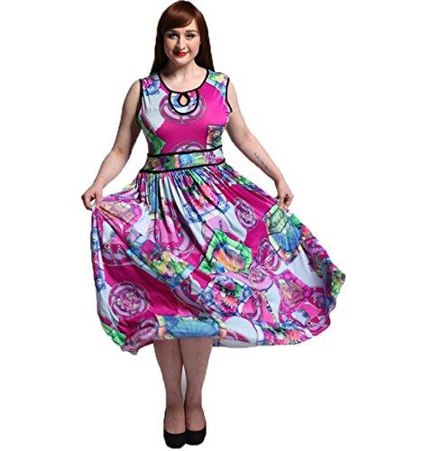 JOTHIN Frauen Ärmellose Strandkleid Oversize Bunt Sommerkleid Damen Druck kleider Mit Groß Saum Lila