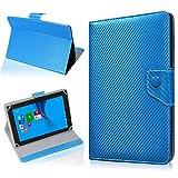 NAUC Tablet Hülle für TrekStor SurfTab Twin 10.1 Tasche Schutzhülle Cover Case Carbon, Farben:Blau