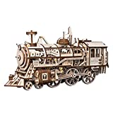 ROBOTIME Lokomotive mechanischer Baukasten - 3D Holzpuzzle Laser-Cut - Modellbaukasten mit Eigenantrieb - Brainteaser Geschenke für Kinder, Jugendliche und Erwachsene