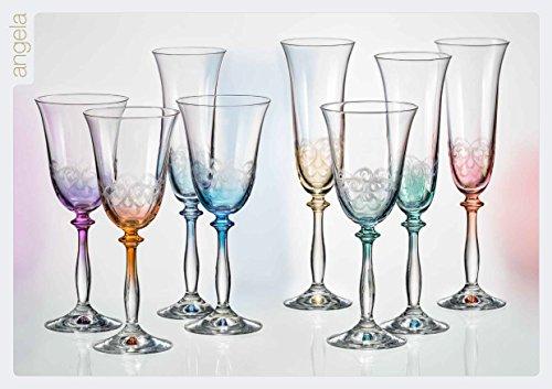 Kristall Bohemia Wein Gläser Angela 250 ml, 6 - Set, farbig sortiert und Gravur