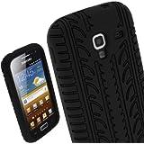 igadgitz Noir Pneu Étui Housse Silicone pour Samsung Galaxy Ace 2 I8160 Android Smartphone