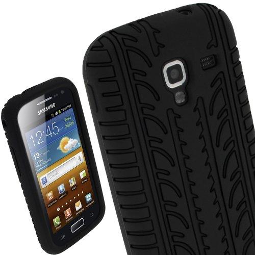 igadgitz U1879 Pneumatico Custodia Silicone Case Cover per Samsung Galaxy Ace 2 I8160 con Pellicola - Nero
