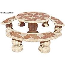 conjunto mesa comedor jardin de piedra artificial con fibramesa redonda bancos