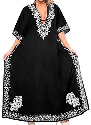 LA LEELA Damen Rayon überdimensional Maxi Bestickt Kimono Kaftan Tunika Kaftan Damen Top Freie Größe Loungewear Urlaub Nachtwäsche Strand jeden Tag Kleider Schwarz_N423