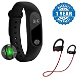 #9: Intelligence M2 Smart fitness Band with Features like Heart Rate sensor/Pedometer/Sleep Monitoring functions With Bluetooth 4.1 QC-10 Bluetooth Jogger Headphones for Android/iOS Devices(One Year Warranty)