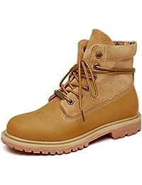 Honeystore Damen Desert Boots Leder Martin Stiefel Große Größe Leder Flache Boots Neue Populäre Frauen Stiefel Grau 43 EU