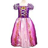 Niñas Princesa Rapunzel disfraz vestido de manga Puff, Cosplay disfraz de Halloween vestido de fiesta de cumpleaños