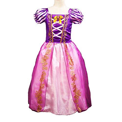 Costume da principessa Raperonzolo per piccole bambine, con maniche a sbuffo, per cosplay per Halloween o festa di compleanno