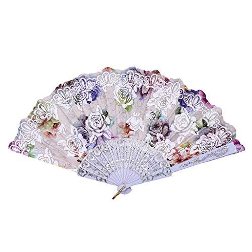 Kviklo Handfächer Faltseide Fächer Kunststoff Rose Blume Durchbrochene Kostüm Party Hochzeit Chinesisch/Japanisch Fan Dekorationen(Weiß,23cm)