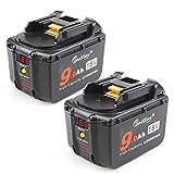 2 Stück Waitley BL1830 18V Akku 9.0Ah für Makita Werkzeugakku 9000mah LXT-400 BL1860 BL1890 BL1815 194205-3 Litium-Ionen Batterie mit Powerbank-Funktion