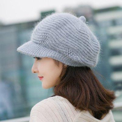 Hut _ 9A11C Koreanischen Hut Lady Gewirkt Hat Warme Winter Pelz Großhandel,Gray (Großhandel Fedoras)