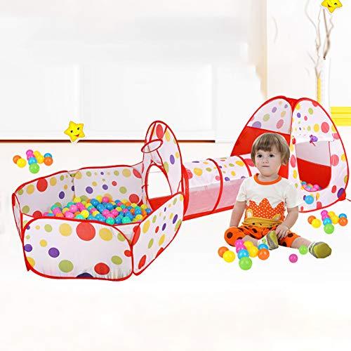 GJF Kinderspielzelt mit krabbeltunnel 3-Teiliges Bällebad Spielhaus mit Zelt Tasche und Tunnel Spielzelt Spielhaus Babyzelt für Zuhause im Garten Mehrweg (Ohne Bälle)