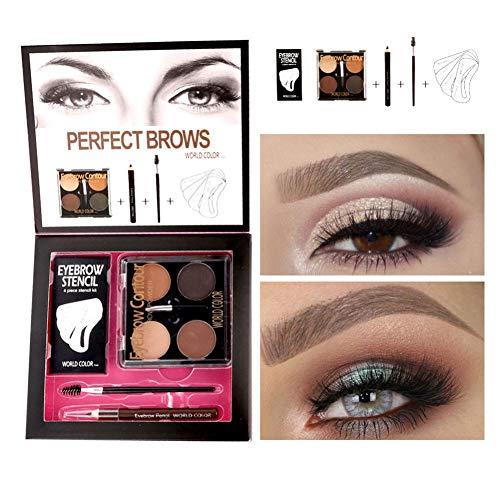 Augenbrauen Make-up Set, Augenbrauenpuder + Augenbrauenstift + Augenbrauenbürste + Augenbraue...