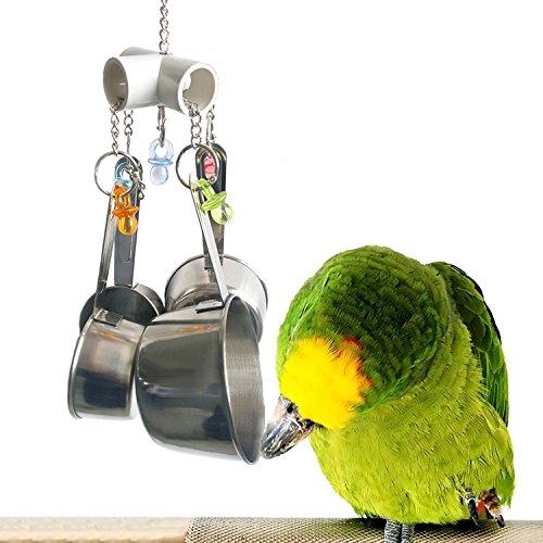 Papagei Spielzeug Edelstahl Trinkbecher Bell Spielzeug für Vögel, robustes Vogel Käfig Spielzeug ...