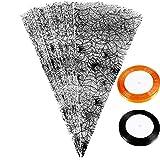 Blulu 100 Stücke Halloween Kegel Taschen Klar Spinnennetz Cello Behandeln Taschen mit 50 Yards Curling Ribbon für Süßigkeiten Cookies Handwerk