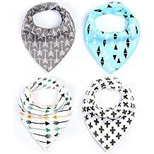 QHGstore 4Pcs Bebé baberos Colorido impresión Algodón suave Bandana Saliva toalla Recién nacido Triángulo Bufanda