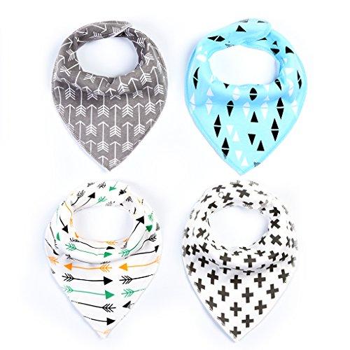 QHGstore 4Pcs Bebé baberos Colorido impresión Algodón suave Bandana Saliva toalla Recién nacido Triángulo Bufanda NO.1