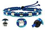 Zeckenschutzhalsband (39cm - 49cm) - EM Keramik Halsband Schutz gegen Zecken und Ungeziefer, 100 % Natur aus Paracord geknüpft mit stylischen Schmuckelementen, für Hunde und Katzen. Blau/Türkis Nr.10