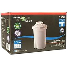 FilterLogic FL601T - 6 unidades - cartucho de filtro compatible con BRITA ® Classic / BWT Anna / Kenwood Universal / Laica Multi-Flux Classic / Aquaphor B100 / Dafi Classic - 102109 - jarra filtrante