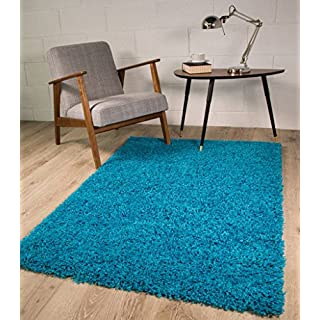 TEAL BLUE LUXURIOUS THICK SHAGGY RUGS 7 SIZES AVAILABLE 60cmx110cm (2ft x 3ft7
