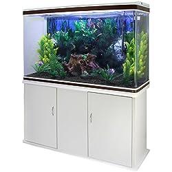 MonsterShop - Aquarium de 300 litres, Kits et Accessoires de Démarrage, Graviers, Meuble Blanc, d'Une Dimension Totale de 143,5cm x 120,5cm x 39cm