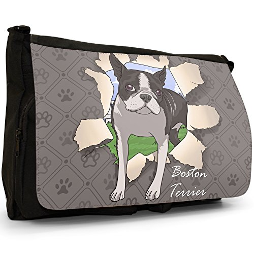 Spezzare cani grande borsa a tracolla Messenger Tela Nera, scuola/Borsa Per Laptop Boston Terrier Breaks Through