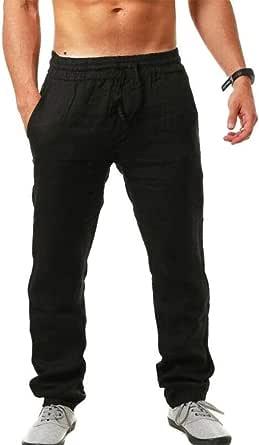 VANVENE Men Linen Trouser Loose Fit Casual Lightweight Elastic Waist Drawstring Yoga Beach Pant