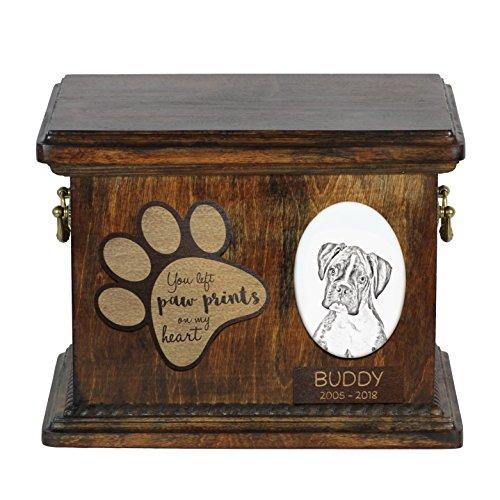 ArtDog Ltd. Boxer, Urne für Hundeasche mit Keramikplatte und - Foto Urn Katze