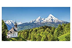 LimeWorks Badetuch, 70x140 cm, Berglandschaft bayrische Alpen - Wallfahrtskirche Maria Gern - Watzmann, Made in EU