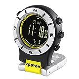 Lixada Smart Watch Altimètre Baromètre Boussole LED Montre Sport Montres Pêche Randonnée Escalade Montre de Poche (Jaune + Noir)