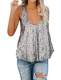 628d8e1d85e0a Lenfesh Camiseta Sin Mangas con Lentejuelas para Mujer Sueltas Tank Tops  Blusa Chaleco