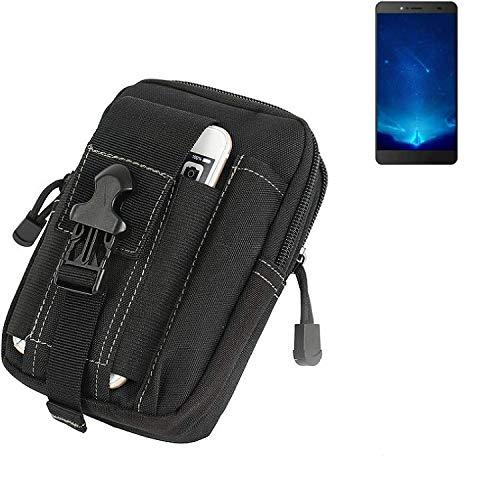 K-S-Trade Gürtel Tasche für Bluboo Maya Max Gürteltasche Schutzhülle Handy Hülle Smartphone Outdoor Handyhülle schwarz Zusatzfächer