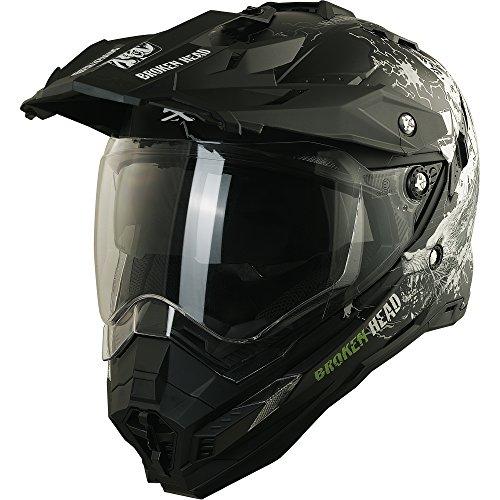 Enduro Helm mit Sonnenblende Broken Head Fullgas Viking matt schwarz - Cross Helm - MX Helm - Quad Helm (XL 61-62 cm) - 2