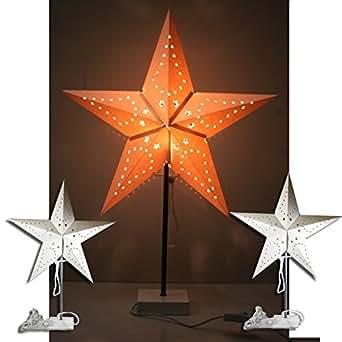 (904) lampe sur pied avec abat-jour lampe en forme d'étoile 60 cm blanc