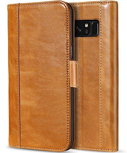 ProCase Galaxy Note 8 Echtes Leder Hülle, Vintage Brieftasche Falten Flip Case mit Kickstand und mehrere Kartensteckplätze Magnetische Verschluss Schutzhülle für Samsung Galaxy Note 8 -Braun -