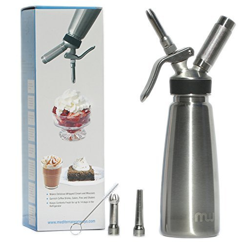 Calidad profesional 1litro dispensador de nata montada-100% acero inoxidable látigo para helados-incluye 3puntas de decoración-no piezas de plástico