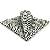 """shlax and wing Men's Hanky 12.6"""" Black White Houndstooth"""