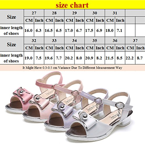 Zhhlinyuan Girls Lovely Bowknot Party Sandals Fashion Kids Summer Princess Shoes L021 purple