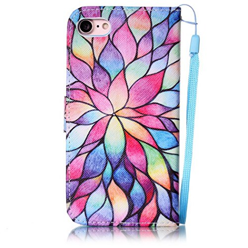 Ledowp Apple iPhone 7 portafoglio in pelle, protezione integrale modello colorato design custodia in pelle custodia a portafoglio in pelle con slot per schede per iPhone 7 multicolore Colorful Tree Flower #3