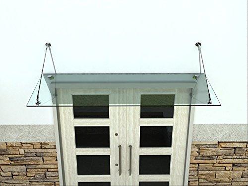 Vordach Glasvordach Türvordach Verbundsicherheitsglas VSG Edelstahl Klarglas (Wahl in 7 Größen & 4 Halterung) (120x90cm (2x Stb-Halterung))