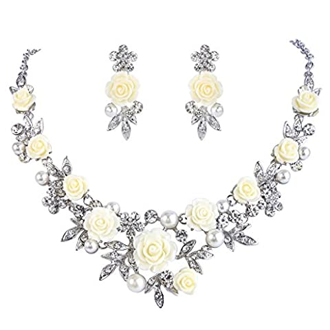EVER FAITH® Silver-Tone Crystal Simulated Pearl Yellow Rose Flower Leaf Necklace Earrings Set