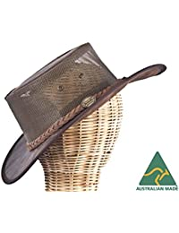 Real Australian Leather Cooler Hat. Original Hat-in-a-Bag. Made in Australia. Brown