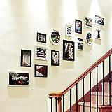 CQSMOO Mauer Skulptur Foto Wand, Massivholz europäischen Stil Korridor Treppe kreative Wohnzimmer Schlafzimmer Bilderrahmen Kombination by (Farbe : White and Black)