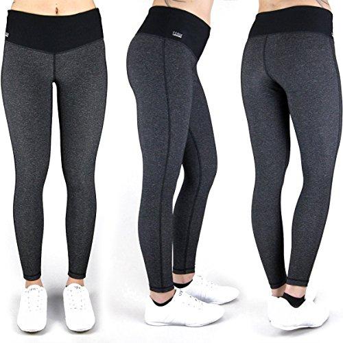 Formbelt® Damen Laufhose mit Tasche lang - leggins stretch-hose hüfttasche für Smartphone Iphone Handy Schlüssel (schwarz-grau, M) (Schwarze Lange Tasche)