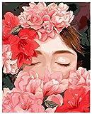 ygghj Malen-nach-Zahlen digitales Ölgemälde Digitale malerei DIY öl mädchen Cartoon handgemalte Kits Zeichnung leinwand Bilder by Zahlen porträt wohnkultur Geschenk (40x50 cm)