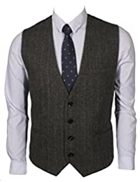 Ruth&Boaz 3Pockets 4Buttons Wool Herringbone/Tweed Business Suit Waistcoat