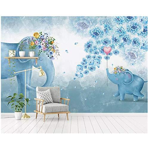 Benutzerdefinierte jede Größe-Nordic gemalt Elefant Blume-Kinderzimmer TV Hintergrund-3d Tapete hängen-Non-Woven 300 (B) x200 (H) (9'2