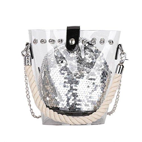 Beikoard Vendita Calda Borsa a Tracolla con Paillettes Reversibile Moda Paillettes Glitter (Argento)